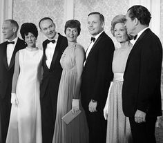 President Richard Nixon meets the astronauts and their wives on 15 August 1969. Photograph: NASA/AFP/Getty Images