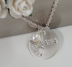 Nana Necklace Sterling Silver Hand Samped Jewelry by SivadoStudio, $32.00