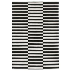 STOCKHOLM Rug, flatwoven, black handmade stripe, off-white stripe…