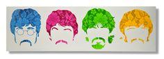 Beatles floral stencil art on canvas by James Warner