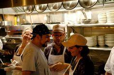 Daniel Holzman and crew at meatball shop, brooklyn