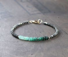Emerald Bracelet with Pyrite, Ombre Emerald Bracelet, Delicate Faceted Emerald, Shaded Green Crystal Bracelet, Emerald Birthstone Jewelry Emerald Bracelet, Gemstone Bracelets, Gemstone Jewelry, Emerald Gemstone, Tassel Bracelet, Garnet Necklace, Bar Necklace, Diamond Jewelry, Beaded Jewelry Designs