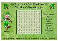 Saint Patrick's Day Word Search SMARTBoard and PDF Word Search I will be using this word search with my students on the day before Saint Patric... $