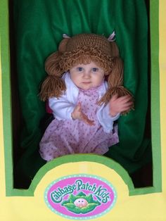 Cabbage Patch Hat by NMJCrochetCreations on Etsy One of them for Mira would make a good prop for a picture! Funny Costumes, Baby Costumes, Halloween Costumes For Kids, Cabbage Patch Hat, Cabbage Patch Babies, Crochet Wig Pattern, Fun Ideas, Craft Ideas, 3rd Baby