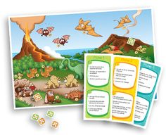 Dinosaures à attraper - Compréhension de lecture - Les Éditions Passe-Temps. Retrouver les dinosaures à partir des informations fournies sur des textes courts. Les objectifs de ce jeu sont de développer la compréhension en lecture, la visualisation, l'utilisation des connecteurs, le raisonnement logique et la capacité à faire des inférences (déductions).