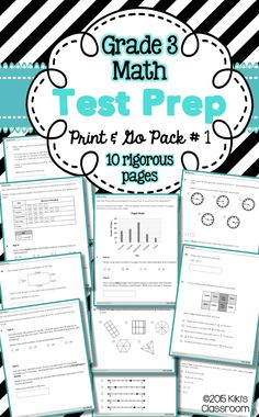 Grade 3 Math TEST PREP Pack #1--in standardized test question format.  Lots of RIGOR in 10 CCSS-aligned printables.  Multiple choice w/ multiple correct answers, fill-in-blank, 2-step problems--it's all here.