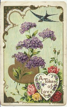 Vintage lilacs and bluebird postcard