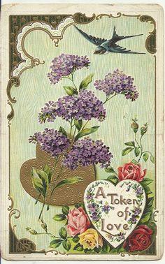 Vintage lilacs and bluebird postcard