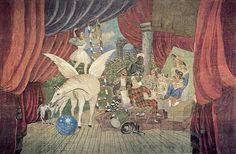 """PICASSO Pablo (1881-1973), Rideau de scène du ballet """"Parade"""", 1917, peinture à la colle de peau sur toile de jute, 10,50x16,40 m, Paris, MNAM."""