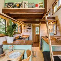 """Loft is spot on except 2 ft back. Ladder will be detachable and will hang over the stairs to the bedroom. The wall on the loft will go all the way up and be a wine rack/ boof shelf that I show you in """"Looking towards Back off Trailer Tiny House Loft, Small Tiny House, Modern Tiny House, Tiny House Living, Tiny House Plans, Tiny House On Wheels, Tiny House Design, Tiny Tiny, Living Room"""