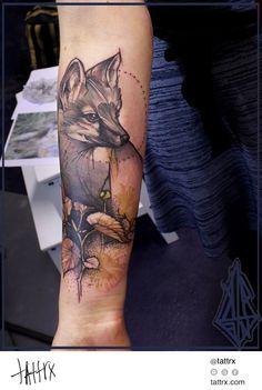 Koepfen Tattoo - Gray Fox for Ann-Katrin