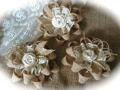 Rustic Shabby Chic Burlap And Lace Flowers by Mydaisy2000 on Etsy