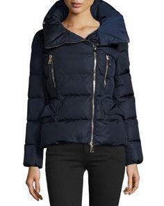 Talia Asymmetric-Zip Puffer Jacket, Navy
