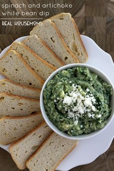 Spinach and Artichoke White Bean Dip is a flavorful crowd pleaser you can whip up in 5 minutes or less!