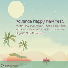write any name and create advance happy new year wishes with name along with best new