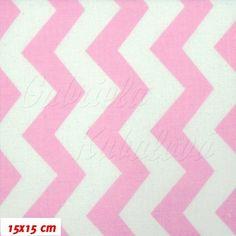 Plátno, Cik-cak růžová bílá, 15x15 cm