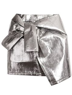 Shop Silver Metallic Asymmetric Hem Mini Skirt at victoriaswing, personal womens clothing online store! high quality, cheap and big discount, latest fashional style! Silver Skirt, Metallic Skirt, Minis, Bow Skirt, Waist Skirt, Girls In Mini Skirts, Mommy Style, White Skirts, Short Skirts