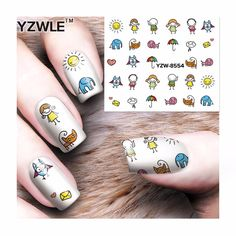 [Visit to Buy] ZKO 1 Sheet Nail Art Water Transfer Sticker NEW DIY Cartoon Design Beauty Decals Nail Art Decorations 8554 #Advertisement