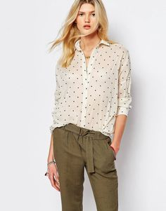 Sessun Spotted Shirt in Cream
