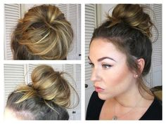 Messy Bun/Topknot Tutorial: How to get a Big Bun with Fine Hair! - YouTube