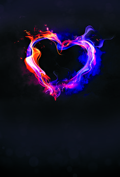 Heart Shaped Flame Cool Background