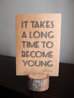 It takes a long time to become young  Note card by LittleWhiteMouse, $3.10 #card #typographical #Picasso #quote