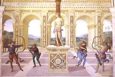 Panicale. Pietro Perugino. Martirio di San Sebastiano. 1505. Particolare.