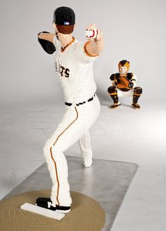 Bumgarner is now the second life-size model that Lego has created for the Giants. Last year, Roe created a sculpture of catcher Buster Posey. Lego Studios, Buster Posey, Size Model, Two By Two, Sculptures, The Incredibles, Create, Second Life, Catcher