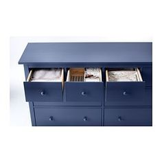 """Ikea Hemnes Dresser Chest with 8 Drawers Solid Pine Blue Product dimensions Width: 63 """" Depth: 20 """" Height: 38 """" Good to know This furniture must be Hemnes, 8 Drawer Dresser, Drawers, Ikea Fans, Ikea Must Haves, Hacks Ikea, Ikea I, 60 Kg, Ikea Home"""