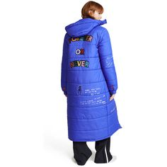 Mira Mikati Forever Or Never Puffer Jacket (1 285 AUD) ❤ liked on Polyvore featuring outerwear, jackets, long blue jacket, long puffer jacket, blue puffer jacket, letter jacket and mira mikati