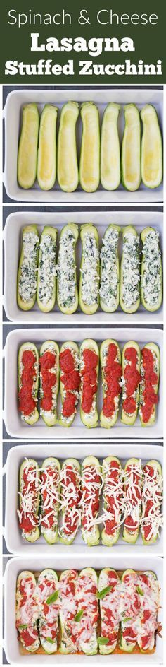 Spinach and Cheese Lasagna Stuffed Zucchini Boats, with four cheeses! This lighter take on lasagna is quick and easy to make! Vegetarian + Gluten Free. | www.kristineskitchenblog.com