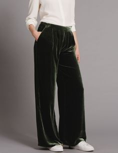 Wide Leg Velvet Trousers dark olive