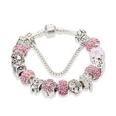 Charm Bracelet- Pink- Owl Pink Owl, Hamsa, Sterling Silver Bracelets, Pendants, Unique, Earrings, Ear Rings, Pendant, Pierced Earrings