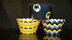 Quantity of 12 CupCake Wrappers  Batman Superhero CW203 Scallop Edge  Birthday Bridal or Baby Shower Weddings. $7.50, via Etsy.
