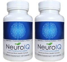 NeuroIQ Advanced Brain Health Supplement For Memory, Concentration, & Focus w/Phosphatidylserine, Ginkgo Biloba, Letcithin, DMAE, & DHA. Great for studying, long hours at the office, memory improvement, and those with attention difficulties (120 Capsules – Save Big!)