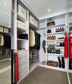 Bespoke walk-in-wardrobe with sliding mirror door. www.kingstonlaffertydesign.com