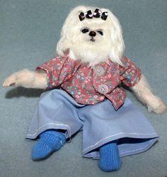 OOAK mini reborn 8 inches polymer clay Maltese dog -Artis PhD Collectables