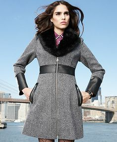 GUESS Coat, Faux-Fur-Collar Tweed Walker