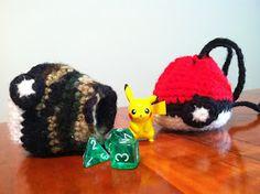 Heart in Flight Crochet: Pokeball drawstring dice/change bag