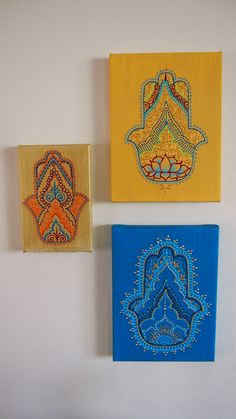 Henna Inspired Hand Painted Hamsa on Canvas by HennaOnHudson