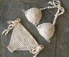 Bikiní del ganchillo bikini triángulo traje de baño del