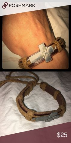 Cross bracelet unisex Beautiful unisex brown cross faux leather cross Bracelet. NWOT Adjust it to just about any size! ✝️ Handmade by D & J Custom D & J Custom Accessories