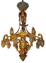 5980 C. Neo-classical Gilt Bronze Chandelier with Cherub: Removed