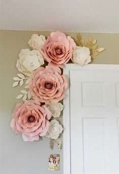 Flower wall Decoration - Blush and white paper flowers paper flower wall decor nursey wall decor backdrop wedding. White Paper Flowers, Paper Flower Wall, Paper Flowers Wall Decor, Pink Paper, Paper Flower Backdrop Wedding, Paper Backdrop, Paper Room Decor, Flower Wall Backdrop, Hanging Flower Wall
