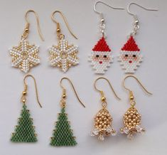 Seed Bead Patterns, Beaded Jewelry Patterns, Beading Patterns, Beaded Beads, Beads And Wire, Beaded Crafts, Jewelry Crafts, Seed Bead Earrings, Beaded Earrings