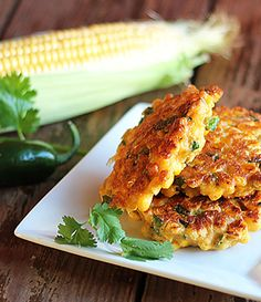 Jalapeno Corn Fritters -- A delicious side dish or appetizer! Side Dish Recipes, Veggie Recipes, Appetizer Recipes, Mexican Food Recipes, Vegetarian Recipes, Cooking Recipes, Healthy Recipes, Appetizers, Side Dishes