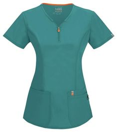 Code Happy Bliss Antimicrobial V-Neck Top Teal / Xl Womens Cute Nurse, Medical Scrubs, Princess Seam, V Neck Tops, Poplin, Blouse, Cotton, Mens Tops, Career Clothes