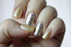 Pale Gold and Glitter: Essie's On a Silver Platter over Julep's Amelia