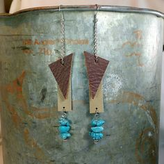 Boho brown and tan Silver tone long dangle drop earrings, turquoise stone beads. Funky hippie unique unusual one of a kind! Geometric