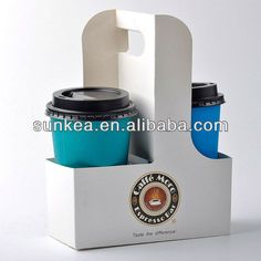 Wholesale take away coffee cup carriers with handle, cup trays